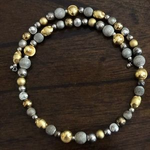 Silver and gold tone bead necklace